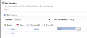Advanced Find Query to add the big set of all accounts