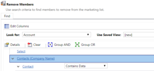 Remove marketing list members: Accounts with contacts