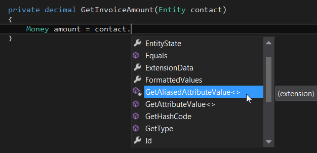 Easy use of AliasedValue in Dynamics CRM plugins